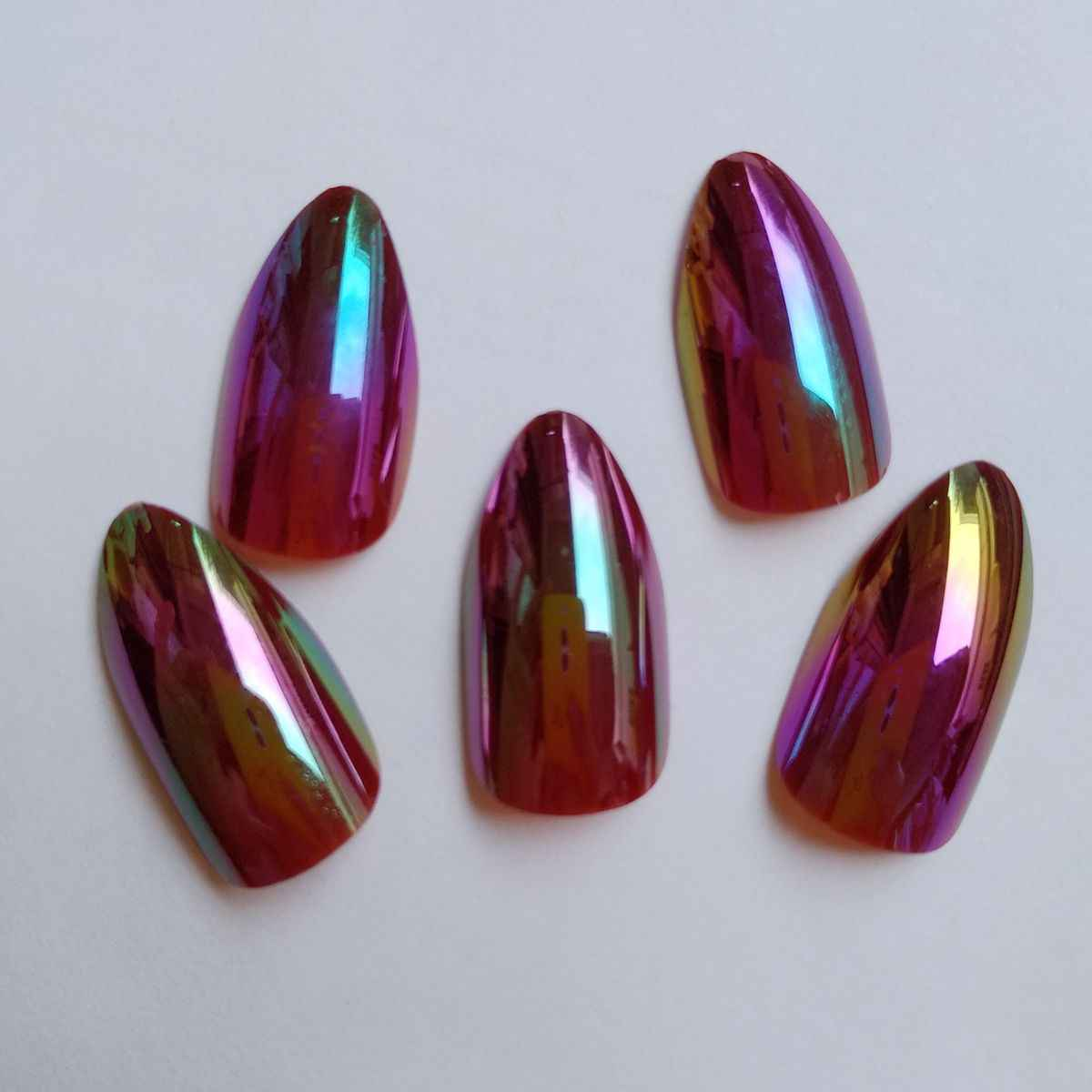 24 pçs camaleão espelho falso stiletto prego holográfico vinho vermelho unhas falsas apontado acrílico salão de beleza da arte do prego produto z145
