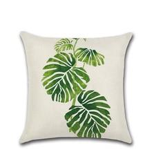 Retro Green Leaves Cactus Linen cotton cushion case Polyester Home Decor Bedroom Decorative Sofa Car Throw Pillows