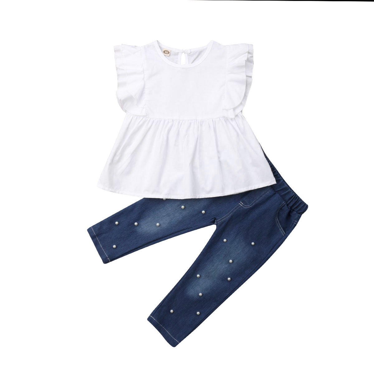 2Pcs Toddler Kids Baby Girls Cotton Top Sleeveless Chiffon shirt Blouse Denim Pants Outfits Clothes Set 2019 in Clothing Sets from Mother Kids