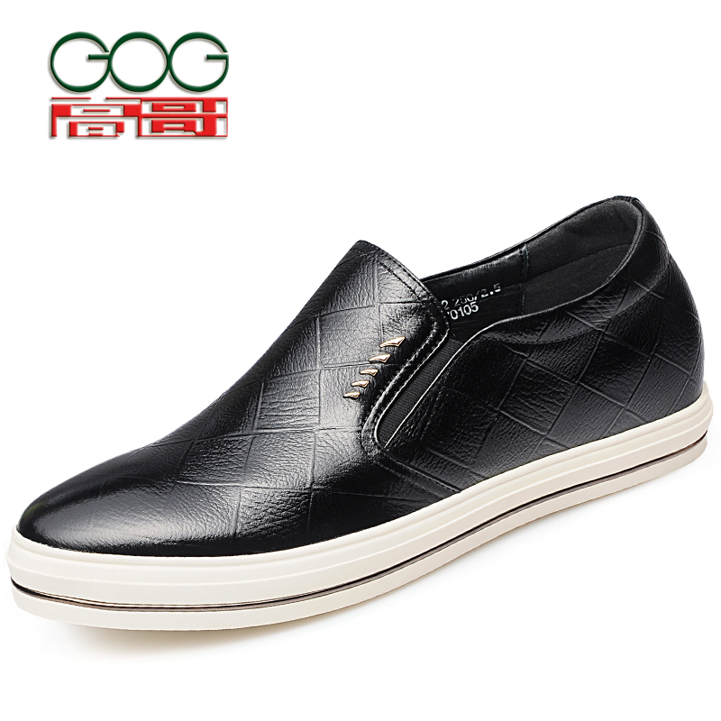 GOG Increase Height 6cm/2.36 inch Slip-On Casual Height Elevator Shoes Men Black Gentlemen Cow Leather Shoes Taller цены онлайн