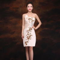 sequined embroidery cheongsam 2018 new Women's elegant short gown party proms for gratuating date ceremony gala cocktails dress