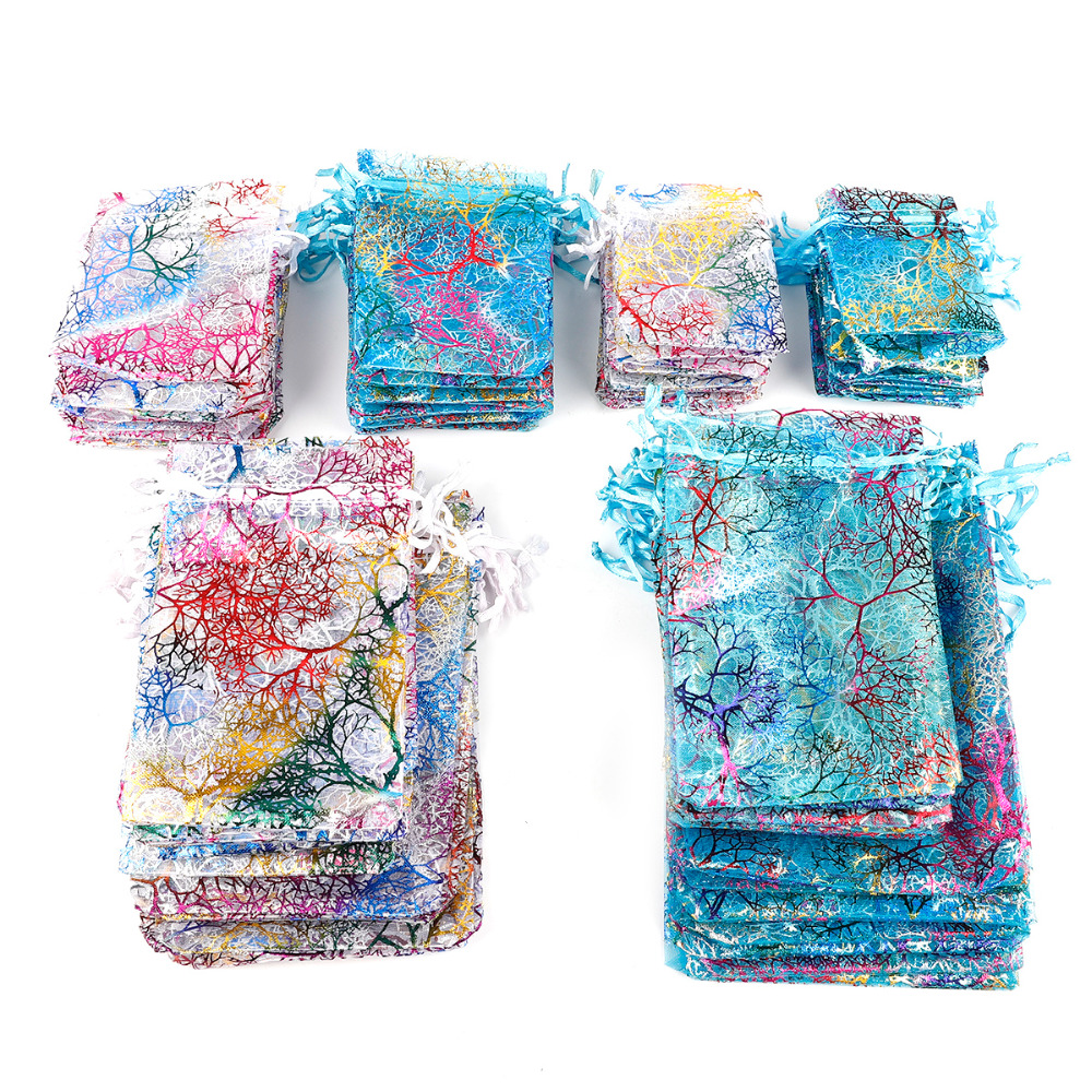 10Pcs Drawable Organza Bags Jewelry Wedding Party Gift Pouches Coral Pattern