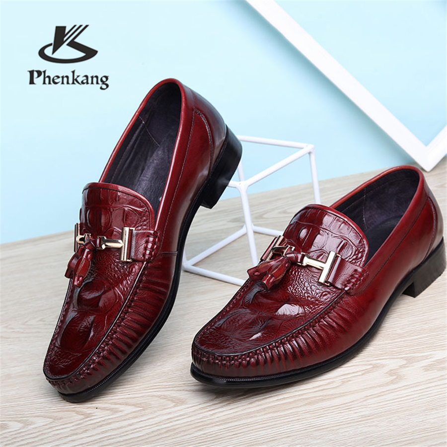 Genuine Cow Leather Brogue Wedding Shoes Mens Casual Flats Shoes Vintage Handmade Oxford Shoes For Men Black Red Spring