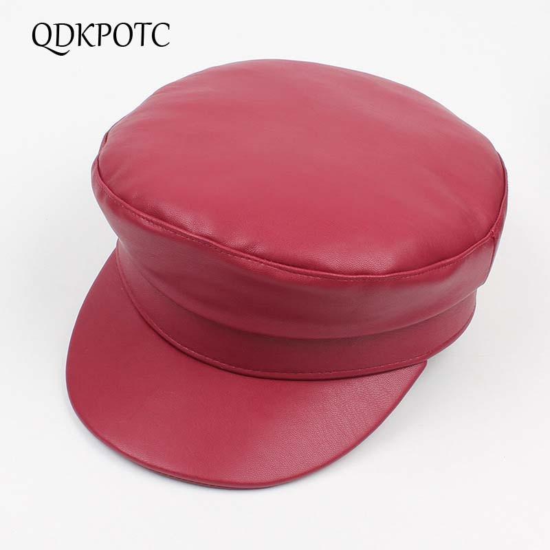 Ausdrucksvoll Qdkpotc Herbst Winter Frauen Pu Leder Militär Hüte Mode Vintage Schwarz Pu Leder Armee Kappe Weibliche Hut Newsboy Kopfbedeckungen Für Damen