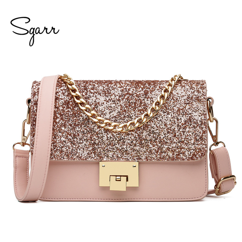SGARR Hot Sale PU Leather Women Messenager Bag Luxury Lady Chain Shoulder Crossbody Bag New Fashion Small Women Sequins Bags