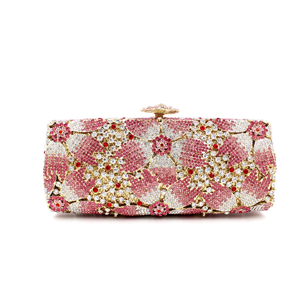 Gift Box Hollow Out Floral Evening day Clutches Party Wedding Vintage Rhinestone Evening Pink Crystal Clutch Bag Women handbags