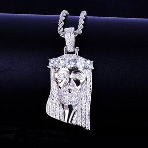 Image 5 - Ледяная религиозная подвеска «Иисус», кулон на голову, ожерелье с бесплатной веревочной цепочкой золотого цвета с блестящим кубическим цирконием, мужские ювелирные изделия в стиле хип хоп для подарка