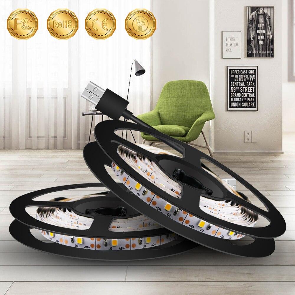 5v Led Strip Light Usb Led Lamp Tape Flexible Neon Light Ribbon 50cm 1m 2m 3m 4m 5m Diode Ledstrip Closet Wardrobe Night Light