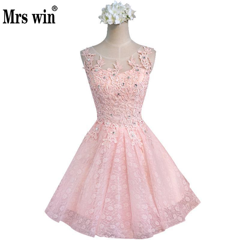 Short   Evening     Dress   2017 Sexy Crystal Lace A-line Bride Party Formal   Dress   Pink Custom Homecoming   Dresses   Robe De Soiree