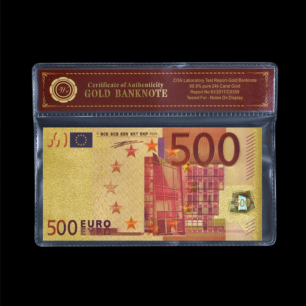 European 500 Colorful EURO Plated Gold Commemorative Paper Money Bill Worlds Banknote Detector Holder