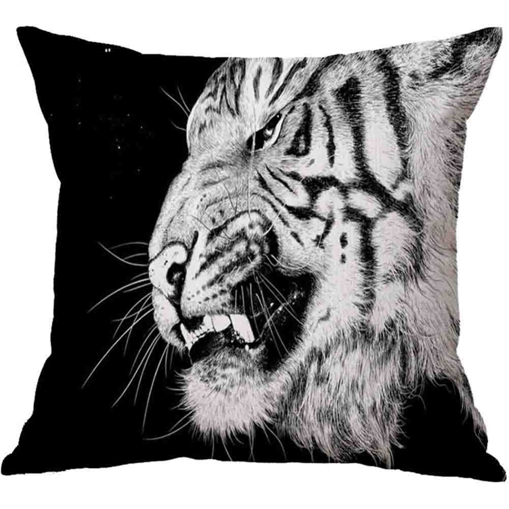 Black & White Animal Lion Tiger Elephant Throw Pillow Case Sofa Bed Cushion Cover Home Decor 45cm 3D Digital Printed Pillowcase