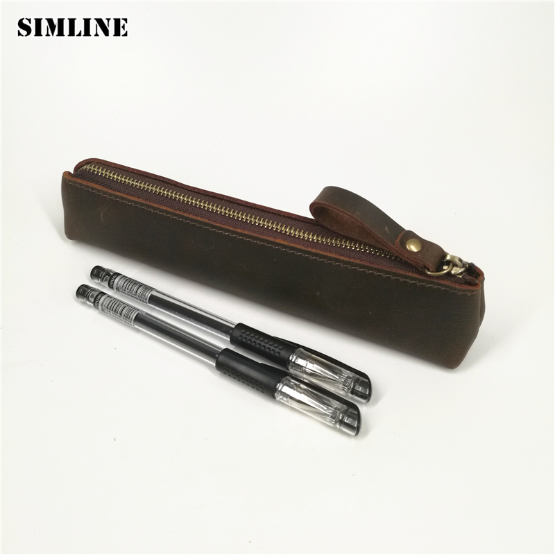 SIMLINE Vintage Genuine Leather Cowhide Zipper Men Man Women Boy Girl Long Pen Pencil Bag Cute Pen Bags Box Case Holder Travel