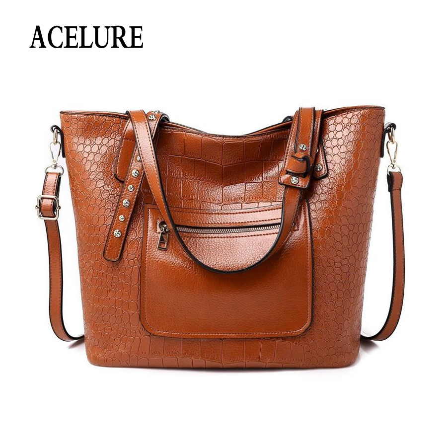 ad1e18f4e0 ACELURE Solid Color Alligator Pu Leather Casual Totes Women Fashion Lager  Shoulder Bag All Match Female Business Crossbody Bags-in Top-Handle Bags  from ...