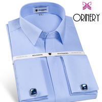 ORINERY 2018 New Arrival French Cuff Mens Shirt With Cufflinks Fashion Brand Long Sleeve Camisa Masculina Dress Shirt Size S 4XL