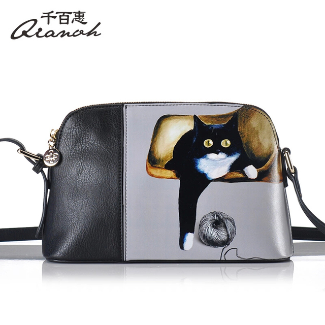 Woman Bags Handbag Genuine Leather Bag QIANBH Brand Original Cartoon Cat  Holding Women s Bags Fashion Shoulder Messenger Bags 8e4ffef10ee2c