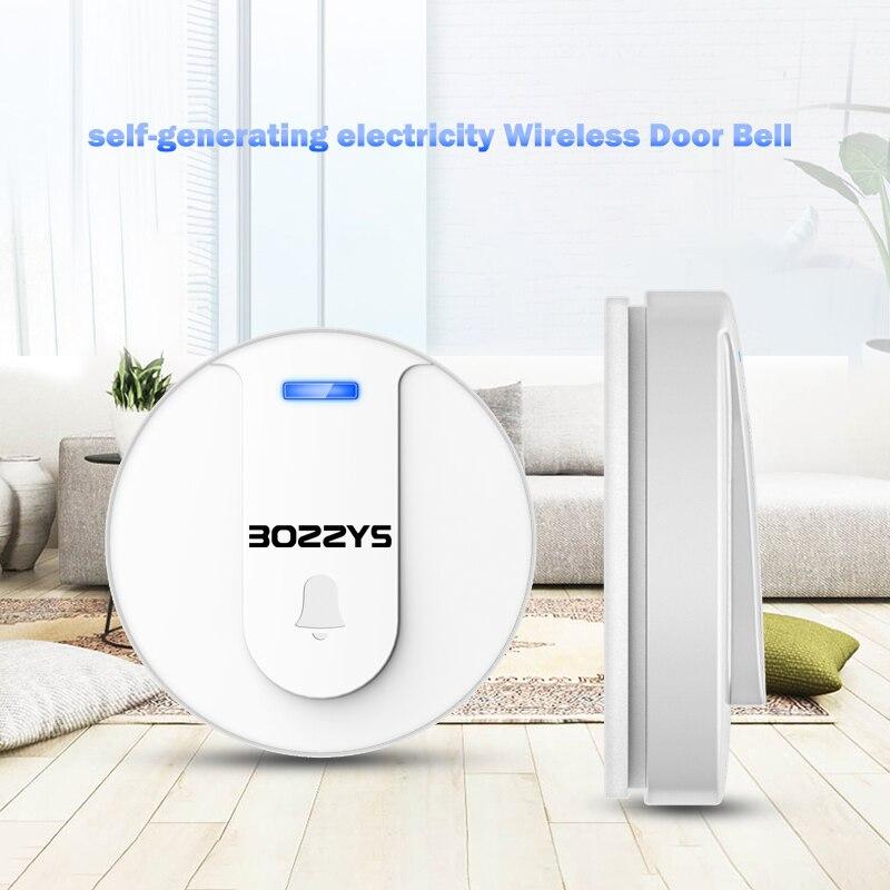 External Wireless Doorbell Self-Powered Smart doorbell waterproof No Battery Home Cordless Bell Kinetic Electronic Door Bell