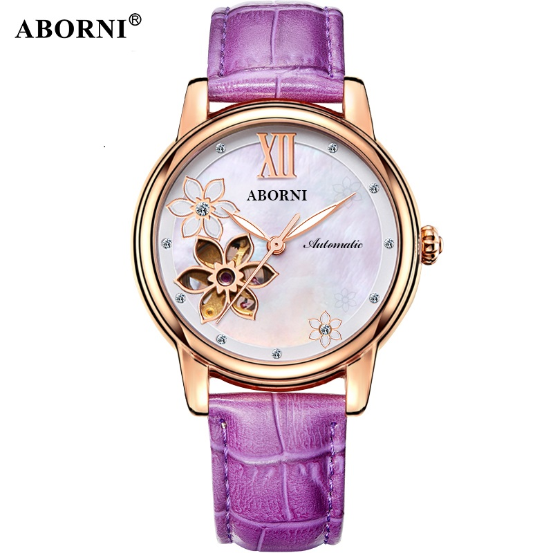 Aborni Women Automatic Clock Flower Design Watch Women's Mechanical Wristwatch Top Brand Luxury Women Watches Relogio Feminino цена