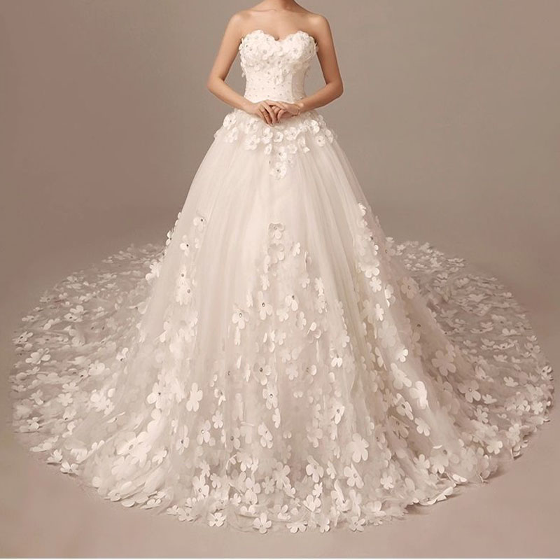 White long organza appliques court train ball gown wedding for White wedding dresses with long trains