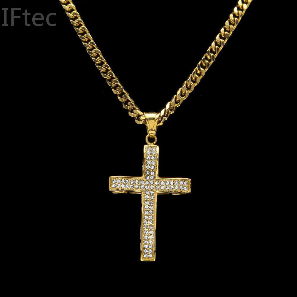 Iftec Men S Hip Hop Full Iced Out Thick Large Cross Pendant Charm Cuban Chain Hiphop