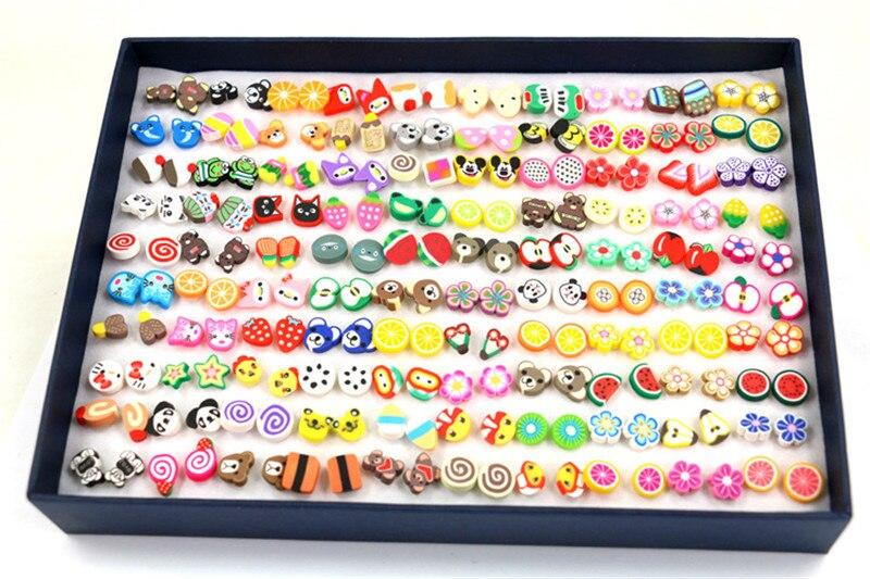 OATHYAN 100Pairs Randomly Polymer Cllay Stud Earrings Set Hot Selling Flower/Fruit/Animal Cute Small Ear Stud Earrings Girl Gift цена