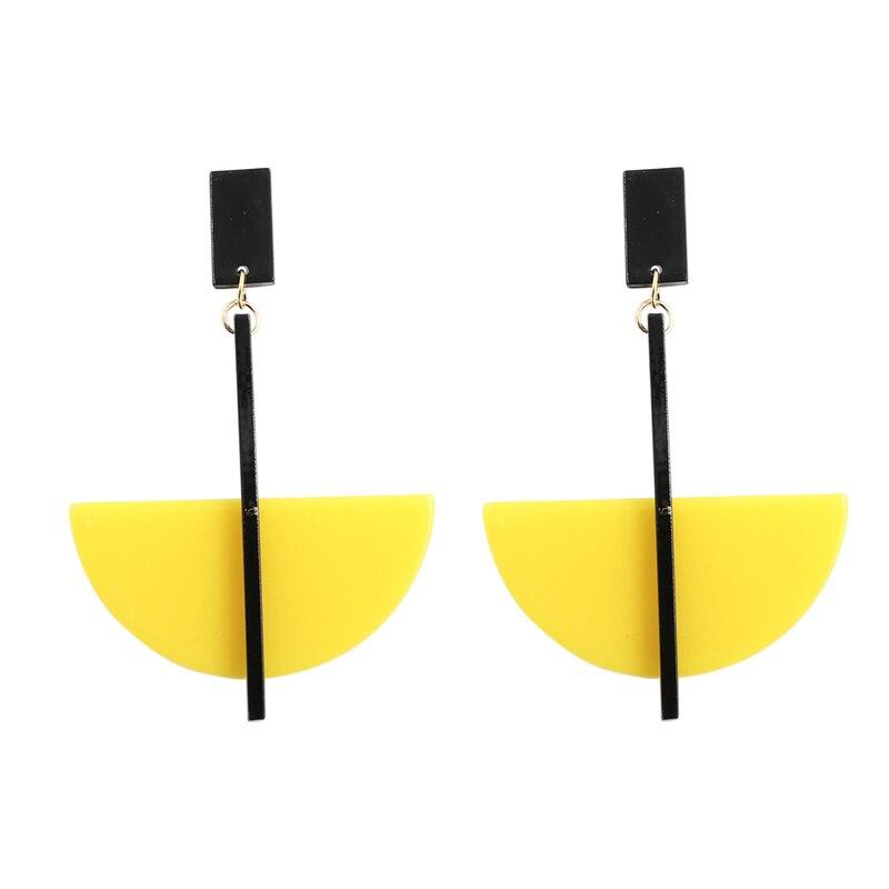 Handmade Yellow Acrylic Earrings for Women Bohemian Big Pendant Resin Earring Statement Long Earing Pendientes Resina 2019
