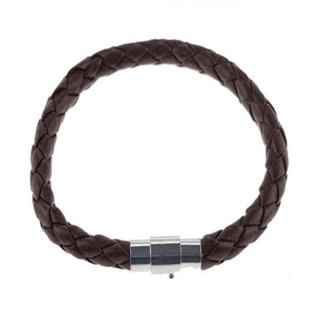 FANALA pleciony pasek ze skóry kobiety bransoletka męska bransoletka opaska ze stali nierdzewnej zapięcie magnetyczne bransoletki męskie bransoletki biżuteria