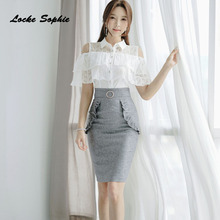 e8074c225f491 2 piece set women s Plus size tops and skirts 2018 Summer cotton blend Lace tops  suits