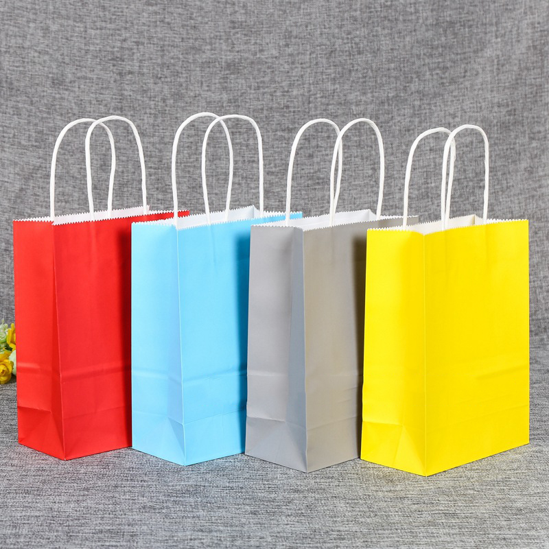 10 Colors Square Kraft Paper Gift Bag Eco-friendly Beautiful Wedding Party Bags Recyclable