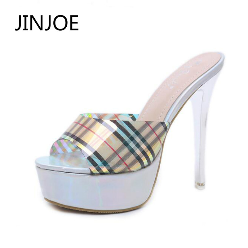 JINJOE <font><b>woman</b></font> <font><b>high</b></font> <font><b>heel</b></font> <font><b>slippers</b></font> Crystal <font><b>shoes</b></font> Sexy <font><b>slippers</b></font> Night shop sandals <font><b>sex</b></font> <font><b>High</b></font>-heeled <font><b>shoes</b></font> Bling Stripe lattice image
