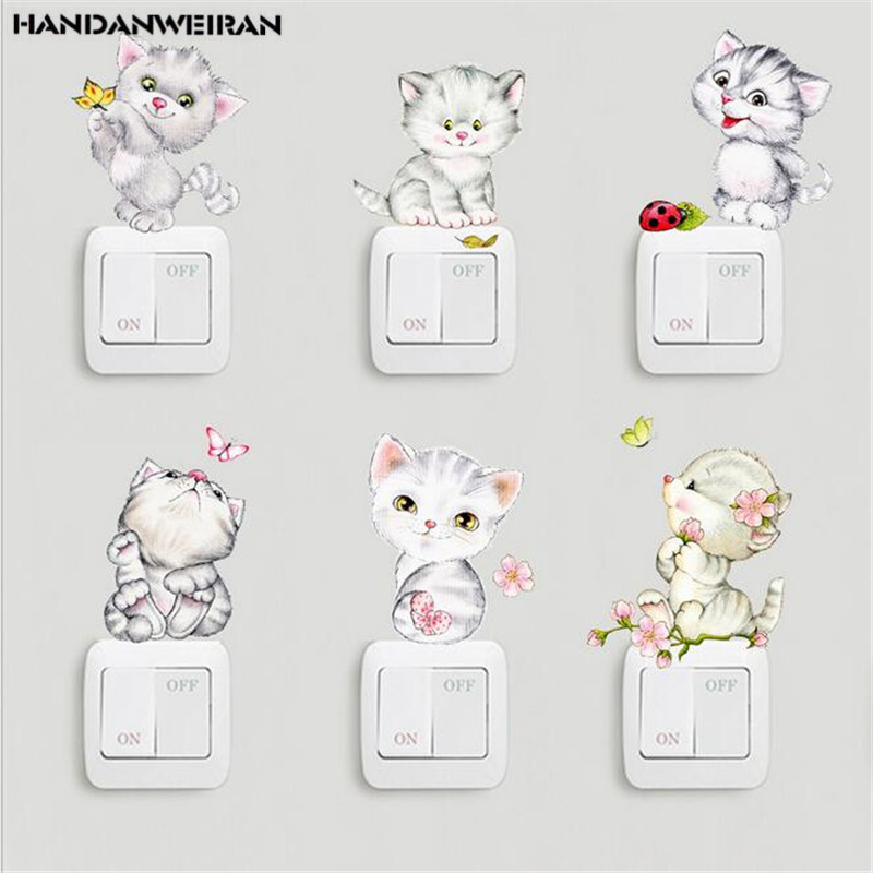1PCS Cute cartoon cat switch stickers computer refrigerator hand creative waterproof background wall home