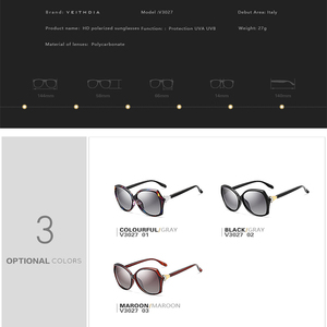 Image 5 - Veithdia óculos de sol feminino polarizado, óculos de sol retrô feminino, polarizado, de luxo, com cristal v3027