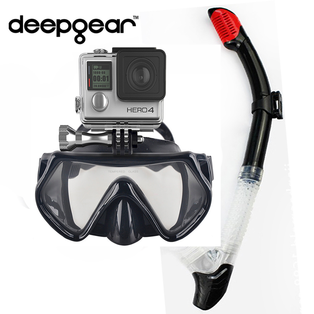 DEEPGEAR CAMAERA SNORKEL SET Tempered Scuba Diving Mask Black Silicone Adult Diving Mask Dry Snorkel Top Watersport Dive Gears