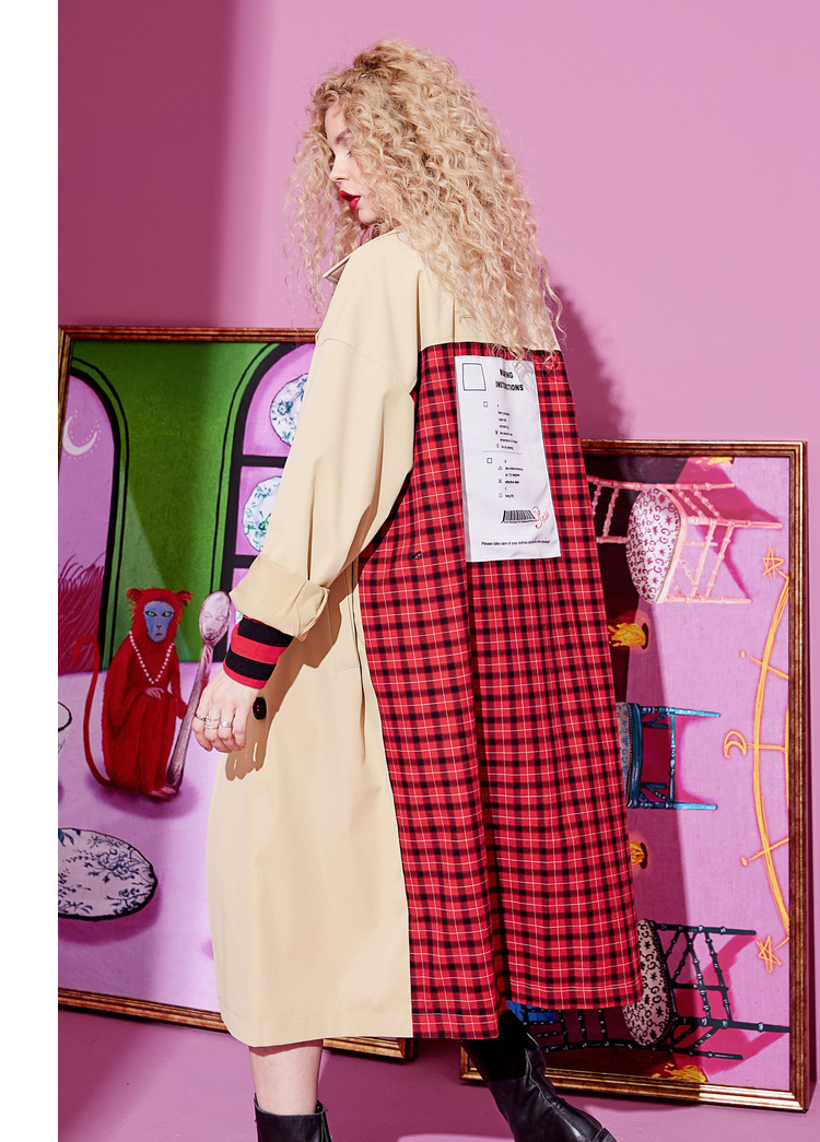 ELFSACK Plaid Back Casual Turn-down Collar Double Breasted British Trench Coat Women 19 Autumn Oversize Female Outwear 6