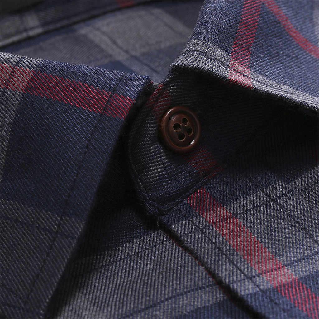 2019 Camisa masculina мужские рубашки мужская повседневная нормальная клетчатая деловая рубашка с длинными рукавами и пуговицами Мужская рубашка горячая распродажа