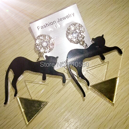 New Style Women's Large Earring HIPHOP Fashion Jewelry Black Leopard Triangle Transparent Acrylic Hipster Dorp Earrings