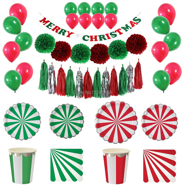 Christmas Decoration Tableware Red\u0026Green Paper Pom Poms Tassel Garland Party Balloons with Striped Paper Plates Napkins  sc 1 st  AliExpress.com & Christmas Decoration Tableware Red\u0026Green Paper Pom Poms Tassel ...