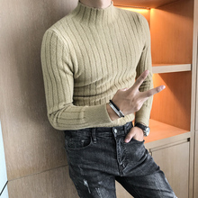 High End Men Sweater Brand New Slim Fit Casual Pullovers Men Long Sleeve High Collar Business Knitwear Winter Striped Pull Homme