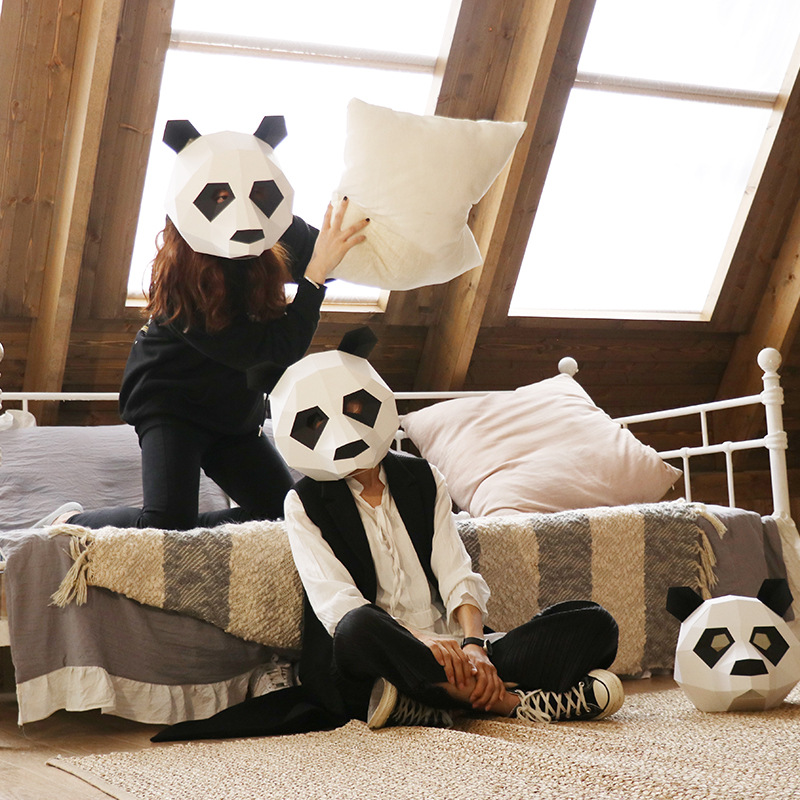 Panda Bear Head Paper Diy Material Manual Creative Head Mask Party Masquerade Show Props Lovely Tide Hand Made Cute Animal Mask Preventing Hairs From Graying And Helpful To Retain Complexion
