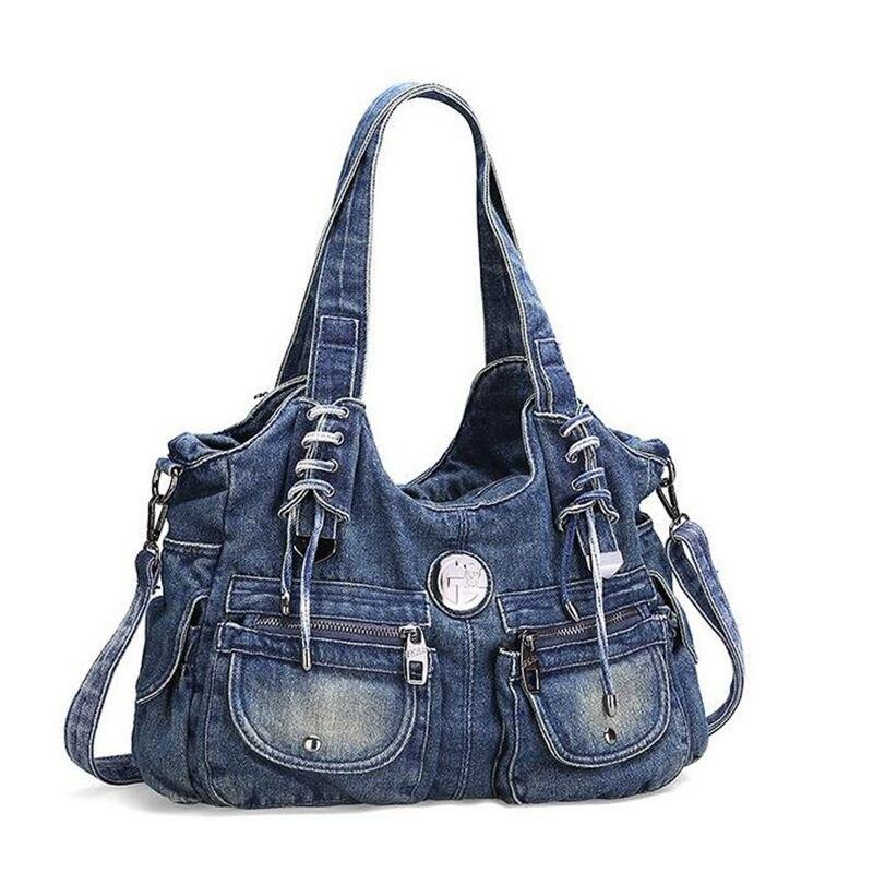 85d7b04c0a iPinee denim jean casual women handbags designer weaving shoulder bags  rhinestone decorative womens messenger bag totes