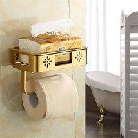 Bathroom Paper Holder Tissue Holder Solid Brass Carved Toilet Paper Rack with Phone Shelf/Roll Paper Holder Hardware Storage