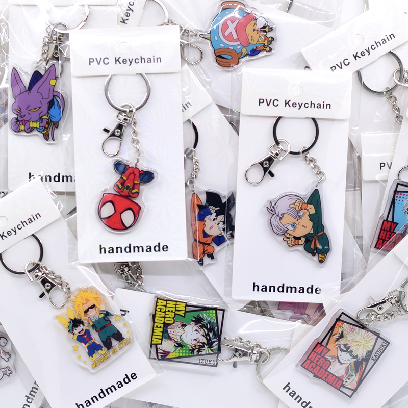 US $49 5 10% OFF|50pcs/lot Cute Anime Key chain Acrylic Keychain High  Quality Custom Chibi Cartoon Pendant Key Accessories-in Key Chains from  Jewelry