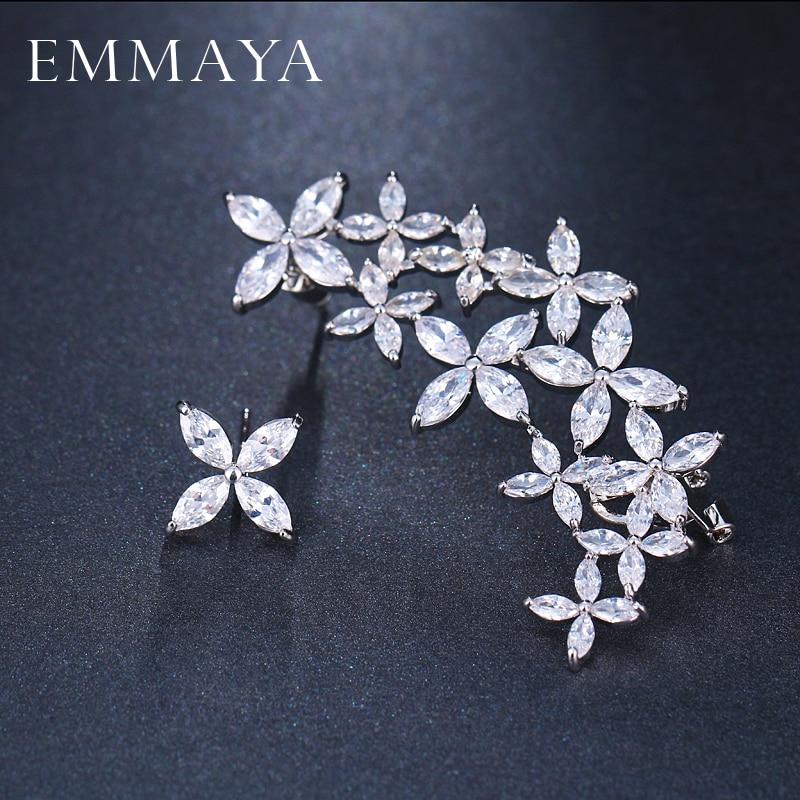 EMMAYA Luxus Einzigartige Große Blume Ohrringe Weiße Farbe CZ ...