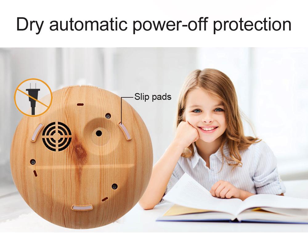 Diffuseur d'huiles essentielles KBAYBO design bois et LED vu du dessous