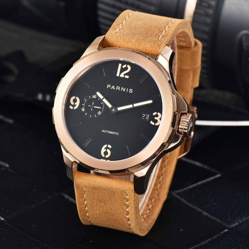 44mm Luxury Brand Mechanical Watches Parnis  Casual Automatic Watch Men Sapphire Leather Luminous44mm Luxury Brand Mechanical Watches Parnis  Casual Automatic Watch Men Sapphire Leather Luminous