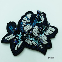1pc handmade sequins beaded patches for clothing DIY rhinestone Sew on patch flower Embroidery applique parche ropa