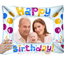 1pc Happy Birthday Aluminum Foil Balloon Photo Frame For Party Decor