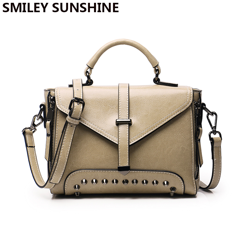 SMILEY SUNSHINE genuine leather crossbody bag for women luxury handbags women bags designer small rivet messenger bag sac a main 2018 floral luxury handbags women bag designer pu leather bag women messenger bags small chain crossbody shoulder bag sac a main