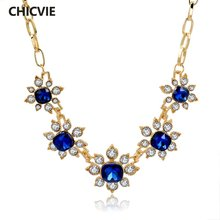 Chicvie роскошное Золотое массивное ожерелье разы кристалл цветок