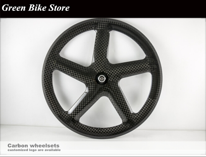 700C fixed gear carbon 5 spoke wheels carbon road/track bike 5 spoke wheels tubular carbon 5 spoke fixie gear wheelset