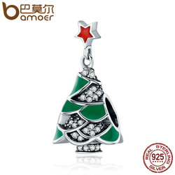 BAMOER 925 Sterling Silver Christmas Tree & Star , Clear CZ Charm Beads fit Women Bracelet Bangles Jewelry Christmas Gift SCC307